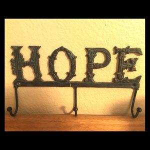 Hope sign with 3 hanging hooks
